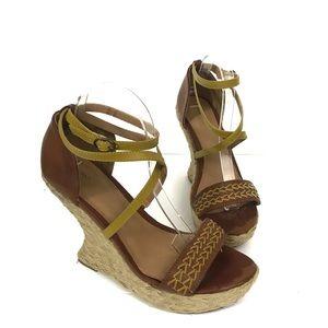 Mossimo Brown & Mustard Strap Wedge Heel S…